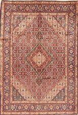 Vintage Geometric Tebriz Hand-Knotted Area Rug Traditional Oriental Carpet 7x10