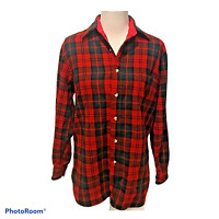 Vintage Fieldmaster Mens Size Medium Flannel Shirt Wool Blend Red Plaid Warm EUC
