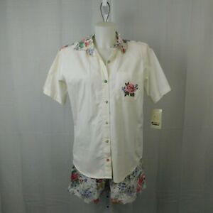 Vintage Capacity Petite Floral High-Waist Shorts & Button-Up Top Set - PM #3804