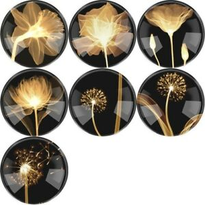Dandelion Flower Flatback Round Glass Cameo Cabochon Domed Jewelry Findings DIY