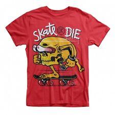 SKATE OR DIE SKULL SKATEBOARD DTG FULL COLOR RED T SHIRT