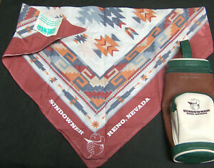 Sundowner Casino RENO Nevada Mini Golf Ball Tee Bag w/ Cool-Wear Head Band Scarf