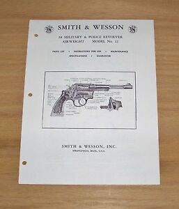 Smith & Wesson .38 Cal. Model 12 Revolver Manual - Early 1960's  - #SW36