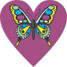 4x4 Purple Butterfly Heart Bumper Sticker Vinyl Cup Decal Car Window Stickers