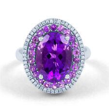 Anelli di lusso con gemme viola ovale in oro bianco