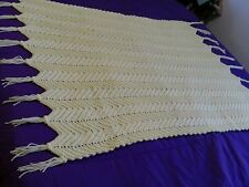 NEW Hand Made Afghan Throw /  Baby Blanket Yellow w Tassels SUPER SOFT