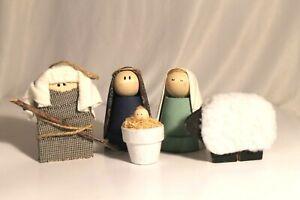 5 Handmade Terra Cotta Planter Nativity Figures Joseph Mary Jesus Lamb Shepherd