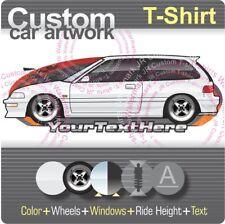 Custom T-shirt 1988 89 1990 1991 Civic hatchback Si EF not affiliated with HONDA