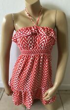 BODY CENTRAL Womens Size Small Sleeveless Ruffled Tunic Halter Top Shirt Blouse