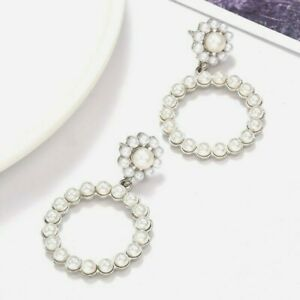 Gold Silver Round Pearl Statement Drop Earrings Wedding Party Gift Vintage *UK*