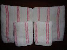TARGET HOME PINK & WHITE CABANA STRIPE (4PC) SET BATH & HAND TOWELS 100% COTTON