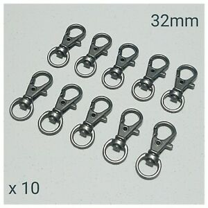 10 x Gun Metal Lobster Swivel Clasps Snap Hooks DIY Keyring Keychain Lanyard
