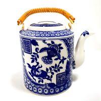 Vintage 1930s Blue & White Japanese Porcelain Teapot w/ Bamboo Handle Japan