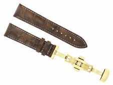 18MM LEATHER BAND STRAP DEPLOYMENT CLASP FOR OMEGA SEAMASTER LIGHT BROWN 3B GOLD