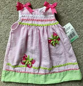 Rare Editions NWT Infant Toddler Girl Seersucker Dress Bloomers Butterflies 18m