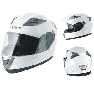 Motorbike Full Face Helmet Sport Scooter Sun Visor Touring White M