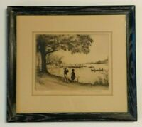 Elias Grossman Pencil Signed & Framed Etching 1941 Glenmere Lake, New York