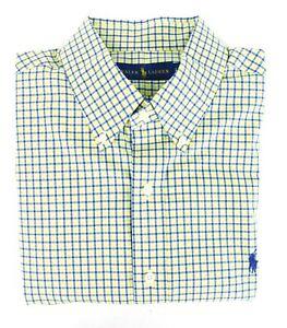 Lauren Ralph Lauren Logo Yellow & Blue Check Button Down Shirt Cotton Large NWOT