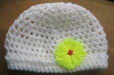 CROCHET-BEANIE-Baby/Small Child -Size xxSml 45cm White Crochet w Band Scull Cap