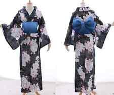 k-023 Negro Azul Oro Brillo Floral Japón kimono yukata OBI Cinturón Original