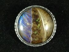 Feather Set Domed Brooch, Sterling Victorian Solid Silver Exotic Bird Iridescent