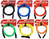 6 Rockville 10' Female to Male REAN XLR Mic Cable 100% Copper (6 Colors)
