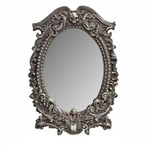 MASQUE OF THE BLACK ROSE FRAMED MIRROR Alchemy Gothic Skull Antique Silver