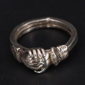 VTG Sterling Silver -  Fede Gimmel Puzzle Friendship Hands Ring Size 6.5 - 5g