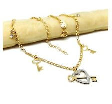 and Keys Charms Figaro Link Anklet B40 New 9Ct Gold Filled Two Tone Heart