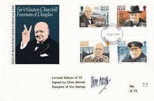 IOM 5 SEPTEMBER 1990 WINSTON CHURCHILL STAMP DESIGNER SIGNED LE FIRST DAY COVER