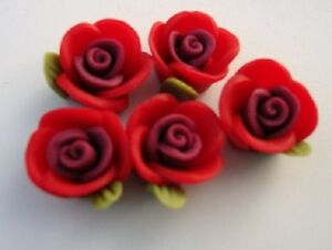 40 Fimo Clay 4D Rose Flower Flatback/bead/beading/Craft/Rosebud/Holes B60-Red