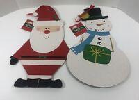 "Set of 2 CHRISTMAS Santa Snowman Cardboard Decorations Christmas House 15"""