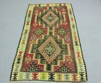 Oushak Hand Knotted Traditional Kilim Area Rug Turkish Authentic Carpet 3x6 ft.