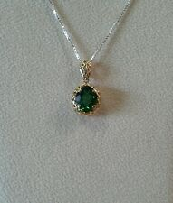 14k Yellow Gold Perforated Pendant with Green Tourmaline