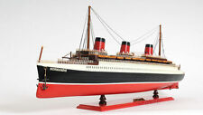 "Tss Normandie Cruise Ship French Ocean Liner 32"" Wood Model Boat Assembled"