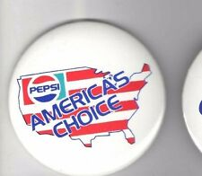 Old pin PEPSI-COLA pinback Pepsi AMERICA 's CHOICE 3 inch button USA MAP Graphic