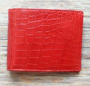 Crocodile Leather Skin Men's bifold wallet DOUBLE SIDE Red Genuine Alligator