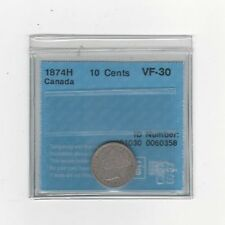 **1874H** CCCS  Graded Canadian,  10  Cent, **VF-30**