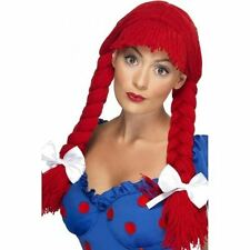 Rosie Red Rag Doll Wig Pigtails & Bows Womens Fancy Dress