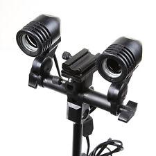 Dual E27 Swivel Bulb Holder& Hot Shoe Flash Mount Adapter Fr Umbrella Speedlight