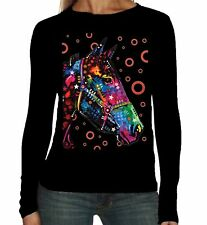 Velocitee Ladies Long Sleeve T-Shirt Psychedelic Horse Equine Riding A19045