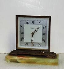 Bentima England Heavy Brass Marble 8 Day Desk / Shelf Clock Working Art Deco