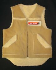 Vintage Faux Suede Sherpa Vest Small Men's Winchester Patch Pockets CO18
