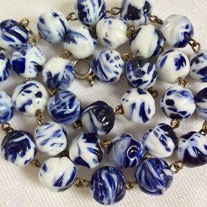 Vintage Czech Art Deco Carved Moulded Indigo Blue & White Glass Bead Necklace