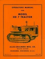 ALLIS CHALMERS HD7 HD-7 Crawler Owners Operators Manual