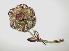 Vintage Sarah Coventry Flower Brooch Pin Cherry AB Aurora Borealis Rhinestones