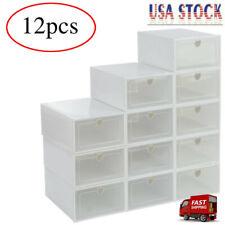 12Pcs Foldable Shoe Box Storage Plastic Transparent Case Stackable Organizer USA