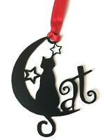 Cat Bookmark Metal Gift Black Moon Red Ribbon Book Mark Page Marker Kitten Books