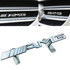Chrome Front Hood Grille Grill Metal Badge For Mercedes-Benz AMG Logo Emblem