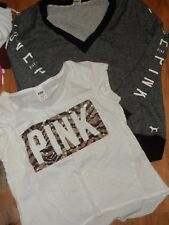 VS Victoria's secret PINK ~ large XL ~ Vneck sweatshirt & bling top t-shirt